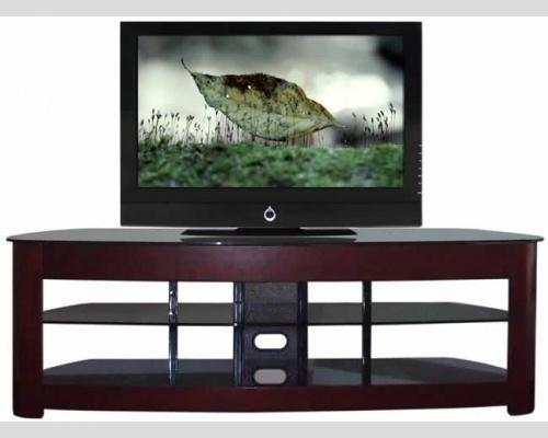 60 Inch Tv Media Stand Dark Solid Wood Large Loading Capacity 1500w