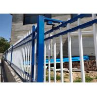 China Galvanized Metal Picket Fence Blue White Wrought Iron Fence Gate on sale