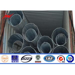 China 9m 11m 12m Galvanized Steel Electrical Power Pole Bitumen With Cross Arms on sale