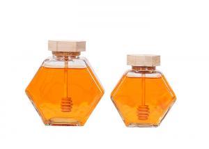 China 220ml 380ml Hexagonal Glass Honey Jars Wooden Lid OEM ODM Service on sale