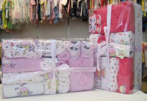 China Luxury Pink Organic Cotton Layette Christening Gift Sets For New Born Baby Girls on sale