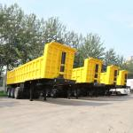 3 axle 4 axle 50t dump tipper truck trailer for sale Hg60 steel  white and yellow trailer  TITAN VEHICLE