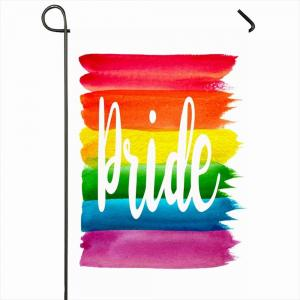 China Outdoor Advertising Flag Hot Wholesale 100D Polyester Heat Transfer Printing Custom Rainbow Gay Pride Garden Banner on sale