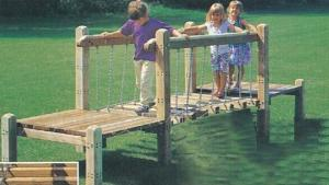 China Outdoor wooden playground equipment for kids,wooden playground bridge on sale