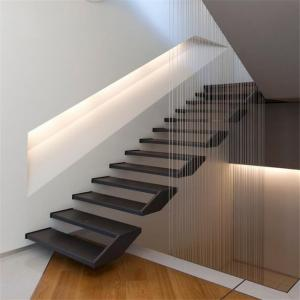 China Contemporary floating staircase with wood tread invisible stringer straight stairs on sale