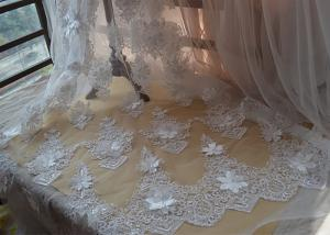 China Ivory Embroidery Corded Sequin 3D Floral Lace Fabric For Bridal Wedding Dress on sale