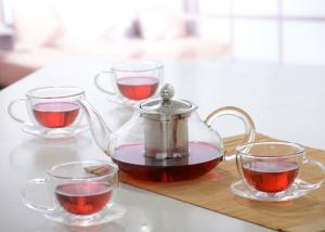 China Elegant Hand Made Glass Tea Pot Set With Stainless Steel Infuser And 5pcs Glass Tea Cups on sale