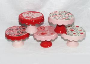 China Valentine Day Decaled Ceramic Mini Cake Stand , Dolomite 4 Inch Cake Stand on sale