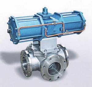 China Pneumatic Four Way Ball Valve on sale