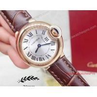 Cartier Ballon Bleu De Cartier Gold Silver Dial Brown Leather Band 28mm Watch