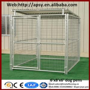 China Heavy duty 6'x8'x6' small animals houses waterproof pug cages galvanized metal welded dog run kennels on sale