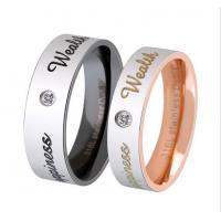 Couple Diamond Ring Rose Golden Finger Ring for Lovers Stainless Steel Wedding Rings