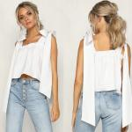 Women Cotton White Color Ruffle Neckline Crop Bohemian Women