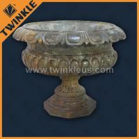 Marble Stone Flower Pots Outdoor Decorative Plant Pot For 100% Hand Carving