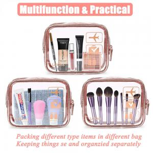 China Transparent PVC Waterproof Rose Gold Make up Bag for Women Girls on sale