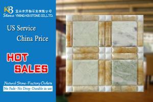 China El mármol de ónix amarillo mezcló las tejas verdes del fondo del mosaico TV del cuadrado del ónix on sale