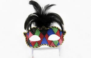 China Womens Colombina Masquerade Venetian Masks , Rainbow Venetian Carnival Masks on sale