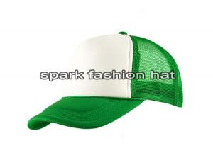 Quality Customize 5 panel white and green color polyester mesh trucker hat for sale