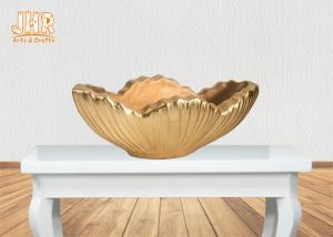 China Home Decor Gold Leaf Fiberglass Decoration Table Vase Flower Serving Bowl on sale