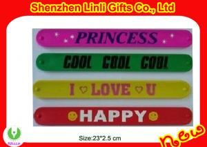 China Color options personalized power customized silicone slap bracelets  approved 100% silicone on sale