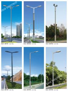 China Galvanized garden Steel main street lamp pole with cross arm two LED floodlights on sale