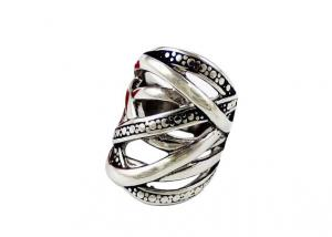 China Silver Black Stainless Steel Rings for Men With 2 Tone , Fancy Cute Braided on sale