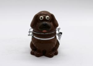 China Dog Shape Ceramic Kitchen Canisters Tea Coffee Sugar Canisters With Metal Clip on sale
