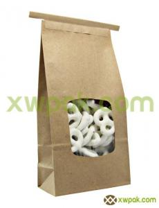 China Clear Window Bleached Kraft Paper Tin Tie Bags With Square Bottom For Snack Food on sale