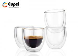 China Transparent 100ml / 200ml Double Wall Glass Cup , Double Wall Espresso Cups on sale