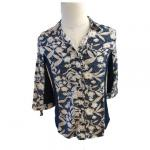 Ladies Yarn Dyed 71% Viscose 28% Cotton V Neck Shirt