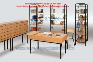 library furniture in metal display with wood shelf racks and wood