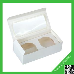 China Customized 2 hole paper cupcake box with clear window on sale