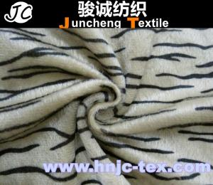 China printed Tiger stripes knitting fabric/short plush fabric with good quality/common velboa on sale