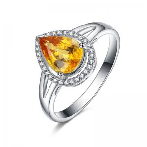 China Big Yellow Sapphire And Diamond Wedding / Engagement Ring For Ladies on sale