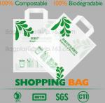 Promotional White EN13432 Certified Compostable shopping bag for supermarket, 100% compostable plastic t-shirt shopping