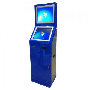 China Dual Screens Bill Payment Kiosk , Card Dispensing Kiosk With Cash Acceptor on sale