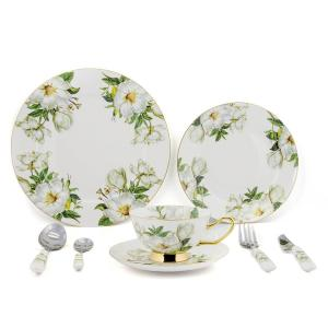 China 8pcs Green Bone China Dinnerware Sets With Beautiful Printing Oven Safe on sale