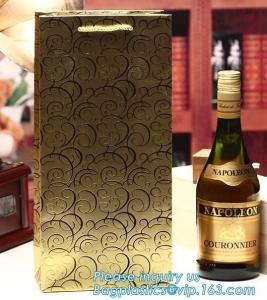 China wine paper bag with handles,luxury glossy wine bottle gift paper bags,Gold Wine Gift Paper Bag with Ribbon Handles pack on sale