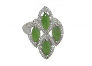 China Hand Polish Byzantine Ladies Sterling Silver Rings With Green Jade Silver Plated on sale