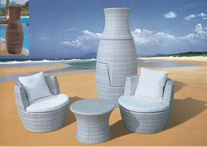 China White Stackable Rattan Furniture Coffee Table And Chair Stacked Into Flower Pot on sale