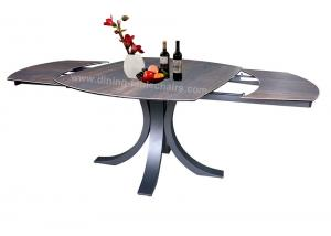 China Elegant Ceramic Top Dining Table Wood Grain Textured Top Black Leg on sale