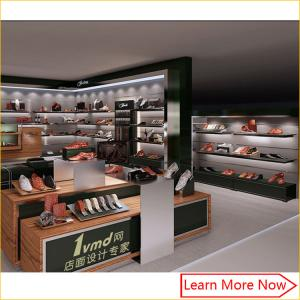 China High quality wooden veneer shoe store display racks with logo on sale
