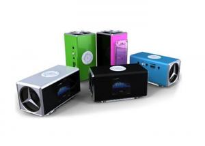 China FM Radio Series Wireless Cell Phone Speakers , Portable Mini Stereo Clock Speaker With LED on sale
