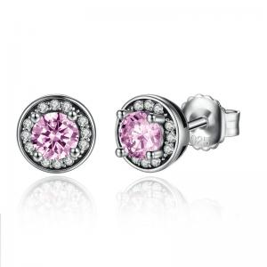 China Pretty 925 Sterling Silver Earrings Push Back Small Diamond Stud Earrings For Ladies on sale