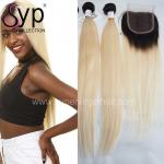 Colored Blonde Ombre Hair Extensions Dark Root To Blond Colour With Closure