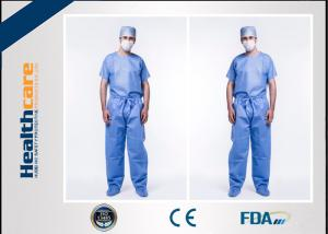 China Anti Dust Disposable Scrub Suits Hospital Jacket For Men With Custom Logo Printing on sale