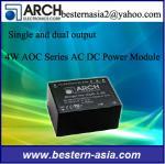 O ARCO inteiramente encapsulado AOC-15S Sinlge da capa de plástico Output o módulo da alimentação de DC da C.A. de 4W 15V