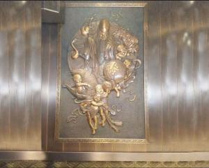 China Hotel Decor Brass Wall Relief Sculpture Handmade With Ancient Surface Finish on sale