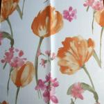 red flower design free sample window curtain transparent