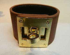 China HOT SALE Steel Ornament Buckle Wide Leather bracelet /bangle(color) on sale